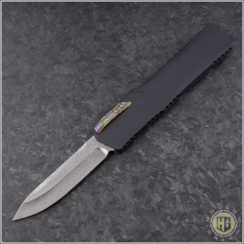 (#HTK-H014-DAM-CF1) Heretic Knives Cleric S/E Damascus w/ Carbon Fiber Cover - Front