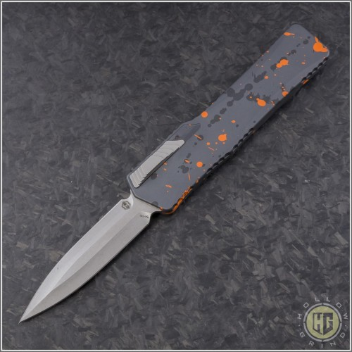(#HTK-H016-2A-OS) Heretic Knives Cleric D/E Orange Splash Handle - Front