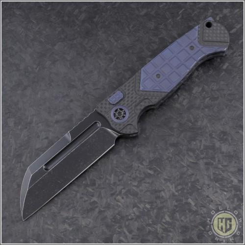 (#HTK-H034-4A-Blue) Heretic Knives Auto Butcher Black Plain - CF Handle w/ Blue Ti - Front