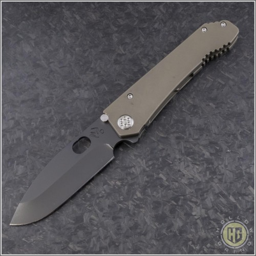 (#MK002DPQ-36A1) Medford Knife & Tool 187DP Drop Point - Bronze Ti - Front