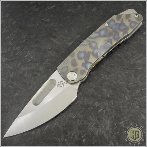 (#MKT-GEN-FL) Medford Knife & Tool General Tumbled Standard Plain with Flamed Ti Handles - Front