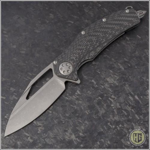 (#MTC-0257) Marfione Custom Matrix - Carbon Fiber Handle - Apocalyptic Blade - Front