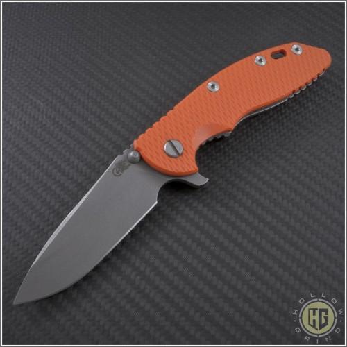 """(#RH-XM1835-34) Rick Hinderer XM-18 3.5"""" Spearpoint Stonewash - Front"""