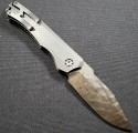 (#HTK-H000-VF-FL) Heretic Knives Wraith Auto Flamed Ti Vegas Forge Damascus w/ CF Handle - Back