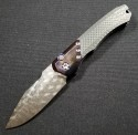 (#HTK-H000-VF-P) Heretic Knives Wraith Auto Purple Damtanium Vegas Forge Damascus w/ CF Handle - Front