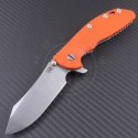 Rick Hinderer Orange Skinner Flipper Knife (4in Stonewashed Plain S35-VN) RH-XM24-OR  - Front