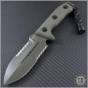 (#101-2GR) Microtech Crosshair D/E Black Partially Serrated - Front