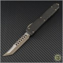 (#119-13CF) Microtech Ultratech Hellhound Bronzed Apocalyptic Plain w/ Carbon Fiber Top - Front