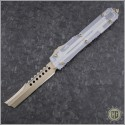(#119-13CLRZ) Microtech Ultratech Straight Razor Bronzed Apocalyptic Plain w/ Clear Top - Front