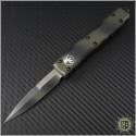 (#120-1GC) Microtech Ultratech Bayonet Green Camo Plain - Front