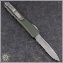 (#121-11OD-ELMAX) Microtech OD Green Ultratech S/E Stonewash Serrated - Contoured Chassis - Back