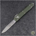 (#121-11OD-ELMAX) Microtech OD Green Ultratech S/E Stonewash Serrated - Contoured Chassis - Front