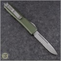 (#121-11OD) Microtech OD Green Ultratech S/E Stonewash Serrated - Contoured Chassis - Back