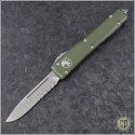 (#121-11OD) Microtech OD Green Ultratech S/E Stonewash Serrated - Contoured Chassis - Front