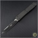 (#121-1CF) Microtech Carbon Fiber Ultratech S/E Black Plain w/ Carbon Fiber Top - Front
