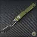 (#121-2ODCC) Microtech OD Green Ultratech S/E Black Partially Serrated Tactical w/ Contoured Handle - Front