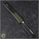 (#121-2OD) Microtech OD Green Ultratech S/E Black Partially Serrated Tactical w/ Contoured Handle - Back