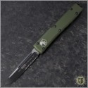 (#121-2OD) Microtech OD Green Ultratech S/E Black Partially Serrated Tactical w/ Contoured Handle - Front