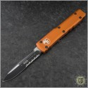(#121-2OR) Microtech Orange Ultratech S/E Black Partially Serrated - Front