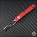 (#121-2RDCC) Microtech Red Ultratech S/E Black Partially Serrated Tactical w/ Contoured Handle - Front