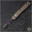 (#121-2TA) Microtech Tan Ultratech S/E Black Partially Serrated Tactical w/ Contoured Handle - Front