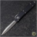 (#122-11CC) Microtech Ultratech D/E Stonewash Partially Serrated w/ Contoured Handle - Front
