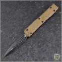 (#122-1GTTA) Microtech Tan Ultratech D/E Black Plain w/ G-10 Top - Front