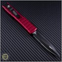 (#122-2RD) Microtech Ultratech D/E Black Partially Serrated Tri-Grip Tactical w/ Red Handle - Back