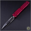 (#122-2RD) Microtech Ultratech D/E Black Partially Serrated Tri-Grip Tactical w/ Red Handle - Front