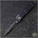 (#122-2) Microtech Ultratech D/E Black Partially Serrated - Contoured - Front