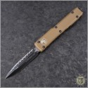 (#122-3TA) Microtech Ultratech D/E Black Fully Serrated w/ Tan Handle - Front