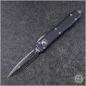 (#122-3) Microtech Ultratech D/E Black Fully Serrated - Front
