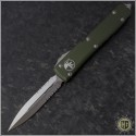 (#122-5OD) Microtech OD Green Ultratech D/E Satin Partially Serrated - Front