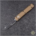 (#123-2TA) Microtech OD Tan Ultratech T/E Black Part Serrated - Front