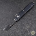 (#123-2) Microtech Ultratech T/E Black Partially Serrated - Front