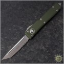 (#123-5OD) Microtech OD Green Ultratech T/E Satin Partially Serrated - Front