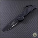 (#135-2T) Microtech LUDT Black Partially Serrated Tactical  - Front