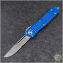 (#139-11BL) Microtech Blue Troodon S/E Stonewash Part Serrated - Front