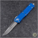 (#139-5BL) Microtech Blue Troodon S/E Satin Part Serrated - Front