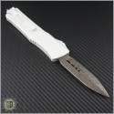 (#142-16WH) Marfione Combat Troodon D/E Damascus w/ White Handle - Back
