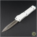 (#142-16WH) Marfione Combat Troodon D/E Damascus w/ White Handle - Front