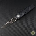 (#143-2T) Microtech Combat Troodon S/E Black Partially Serrated Tactical - Front