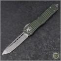 (#144-10OD) Microtech Combat Troodon Tanto Stonewash Plain, OD Green Handle - Front