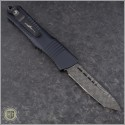 (#144-16CFTI) Microtech Combat Troodon T/E Damascus Plain w/ CF Top and Ti Hardware - Back