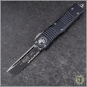 (#144-2) Microtech Combat Troodon Tanto Black Partially Serrated - Front