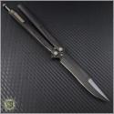 (#173-1DLC) Microtech Tachyon III Black DLC Plain w/ Bronzed Hardware - Back