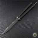 (#173-1DLC) Microtech Tachyon III Black DLC Plain w/ Bronzed Hardware - Front