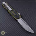 (#178-10OD) Microtech QD Scarab S/E Stonewash Plain w/ OD Green Handle - Back