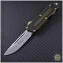 (#178-10OD) Microtech QD Scarab S/E Stonewash Plain w/ OD Green Handle - Front
