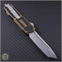 (#179-10TA) Microtech QD Scarab T/E (Tanto) Stonewash Plain w/ Tan Handle - Back